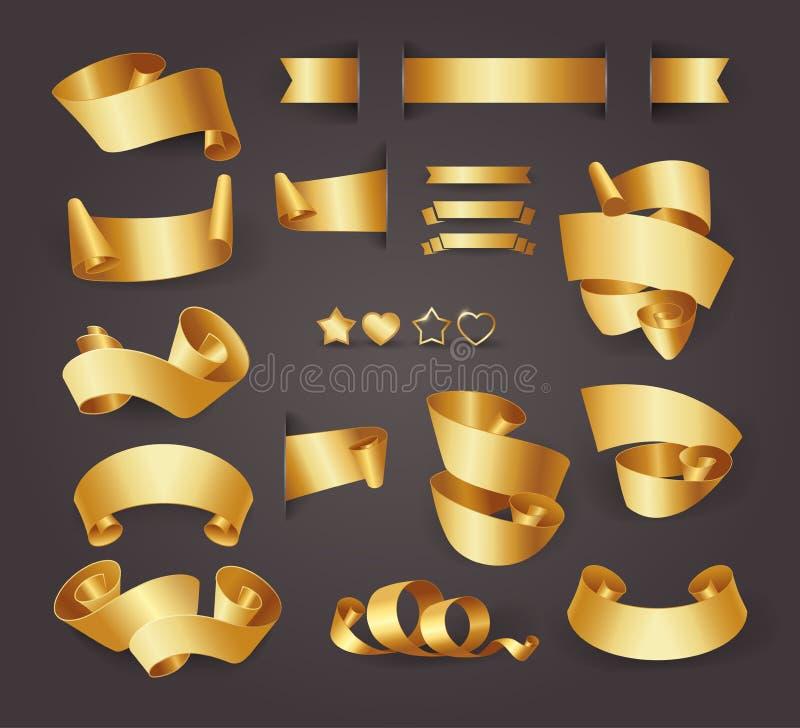 套您的设计的优质金黄丝带 也corel凹道例证向量 金黄设计元素 封印、横幅、心脏和星 金子 皇族释放例证