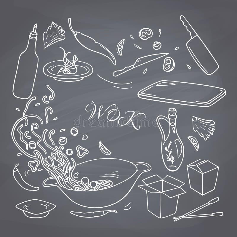 套您的设计的概述手拉的铁锅餐馆元素 白垩样式乱画亚洲人食物 库存例证