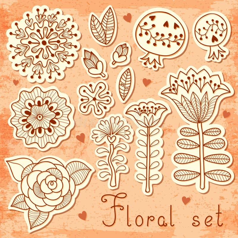 套您的设计的花卉元素 向量例证