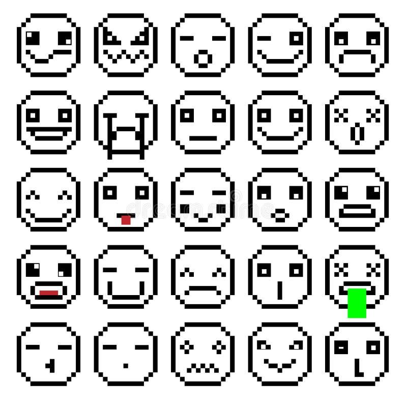 套情感被设置EMOJI微笑象微笑减速火箭的秒钟设置黑白的映象点微笑 库存例证