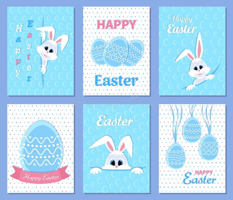 套愉快的复活节问候和邀请卡片 白色逗人喜爱的复活节兔子偷看在孔外面的,丝带,鸡蛋,题字 向量例证