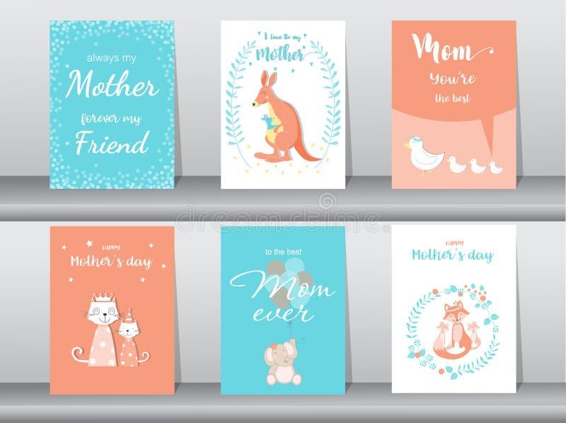 套愉快的母亲` s天卡片,海报,模板,贺卡,逗人喜爱,袋鼠,猫,大象,狐狸,动物,传染媒介例证 皇族释放例证