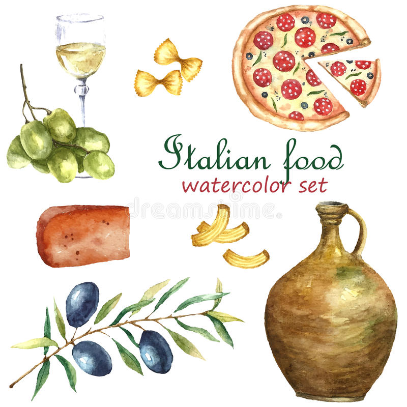 套意大利食物象水彩例证 向量例证