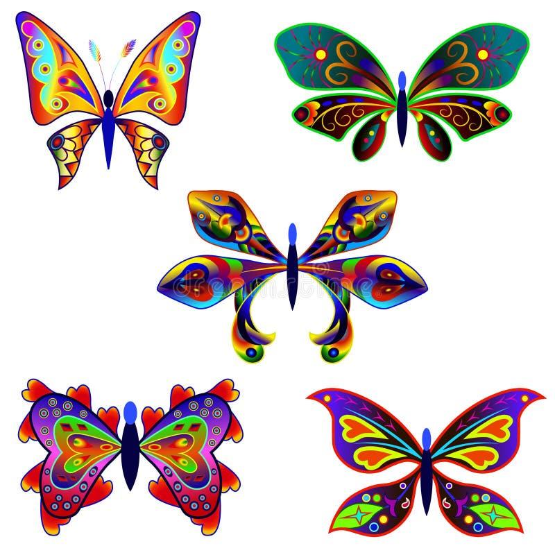 套意想不到的蝴蝶5 库存例证