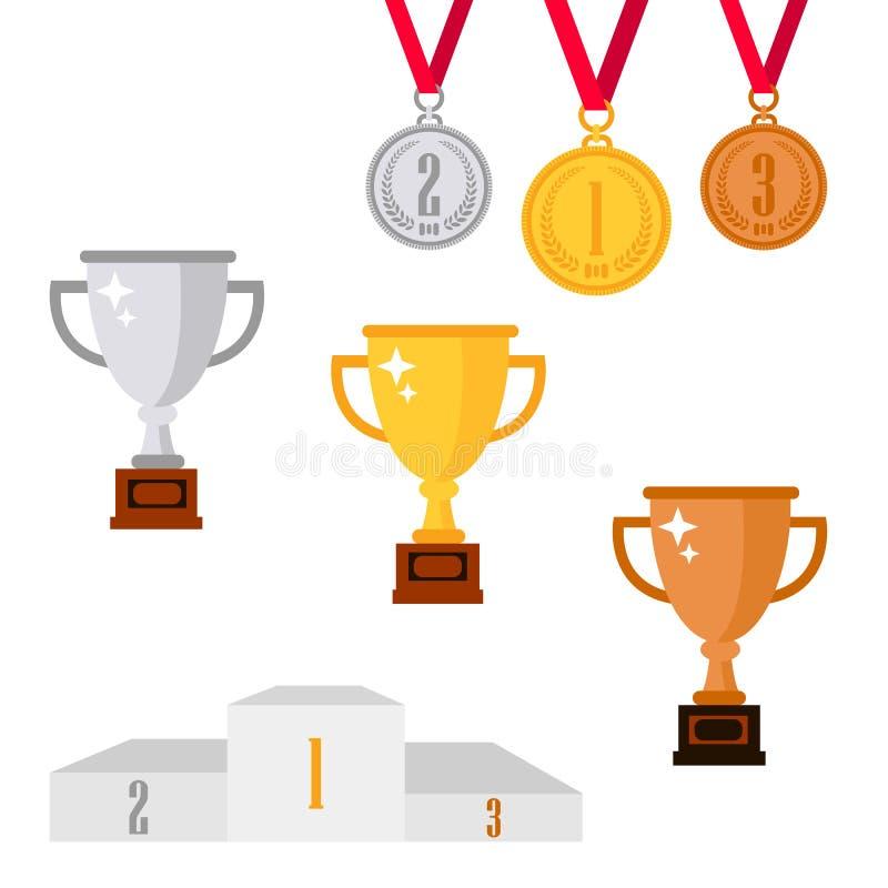 套战利品在白色背景隔绝的奖象 金黄,银色和古铜色杯子、奖和奖牌 皇族释放例证