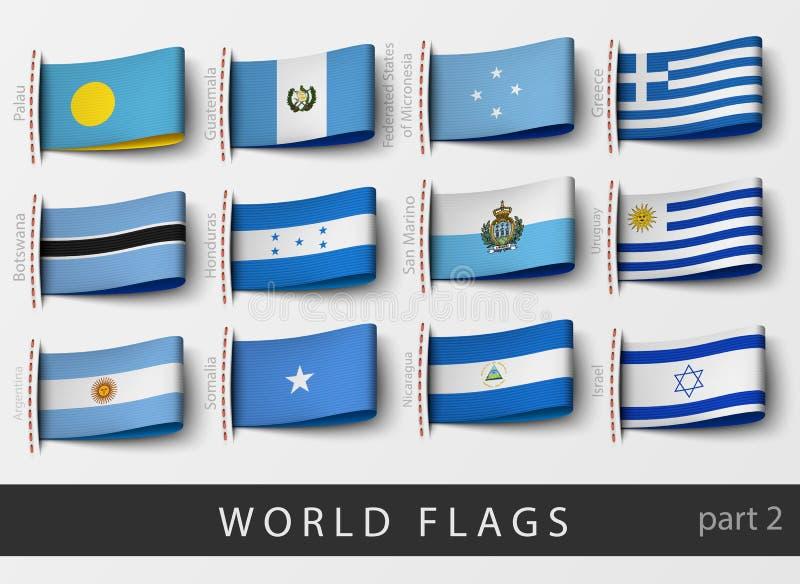 套所有国家旗子标签  向量例证