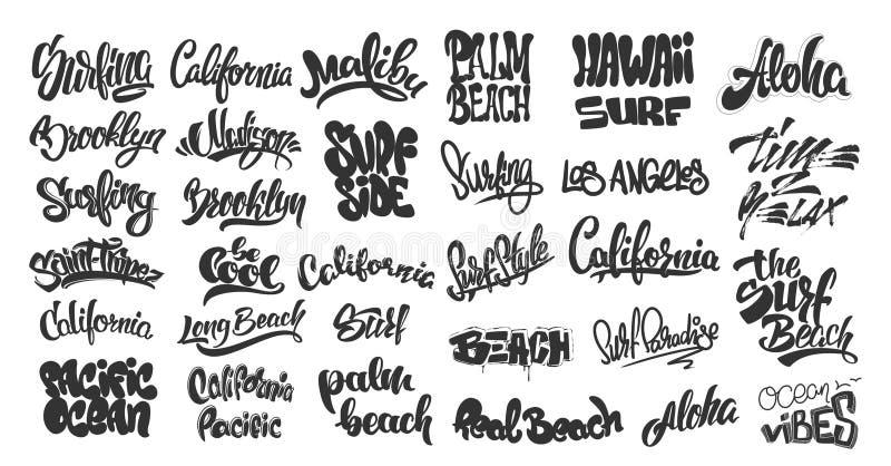 套手写的城市名字和海浪字法 象征和徽章传染媒介 向量例证