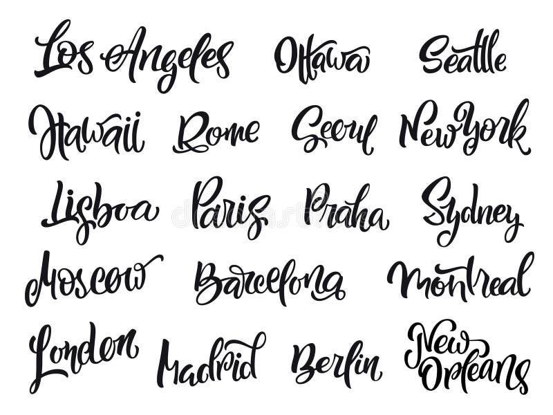 套手写的城市名字 伦敦,巴黎,柏林,马德里,纽约,莫斯科,巴塞罗那 向量例证