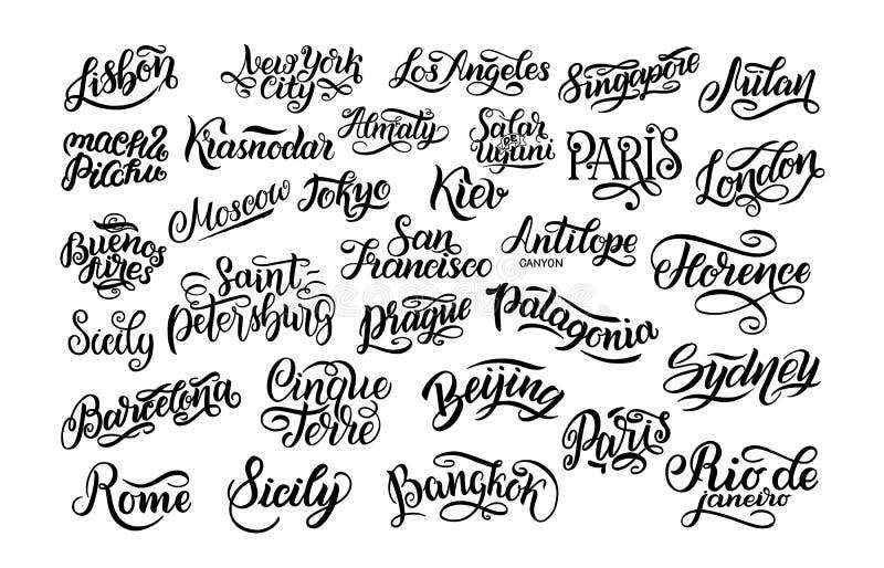 套手字法 最大的城市在世界上 基辅,阿尔玛蒂,伦敦,里斯本,巴黎,东京,莫斯科,纽约, Buenos 库存例证