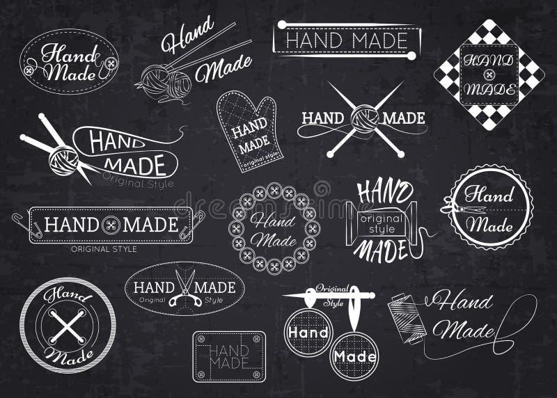 套手工制造标签、徽章和商标为 向量例证