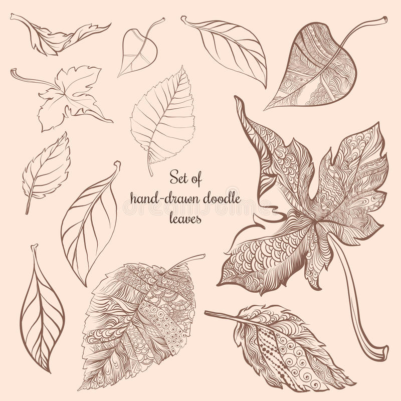 套手拉的乱画秋天森林叶子 库存例证