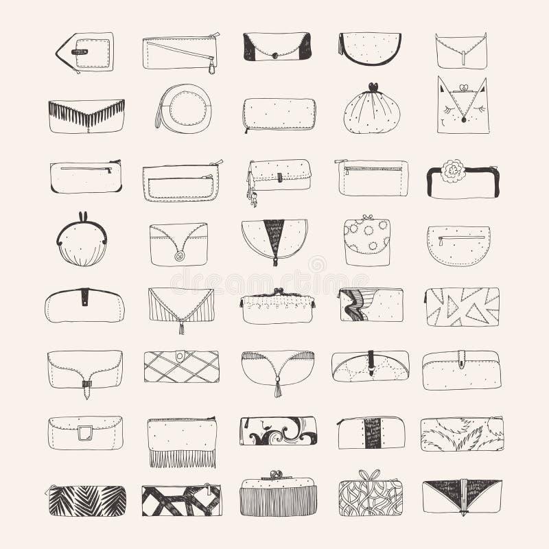 套手拉的传动器和钱包在米黄背景 用不同的形状和装饰的装饰的提包 皇族释放例证
