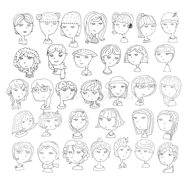套手拉的女孩头 33不同发型,微笑面对,与辅助部件,帽子,猫耳朵,耳机 黑色白色 库存例证