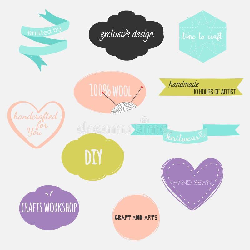 套手拉的形状用与各种各样的字法的不同的颜色 心脏、横幅、圈子和丝带等 库存例证