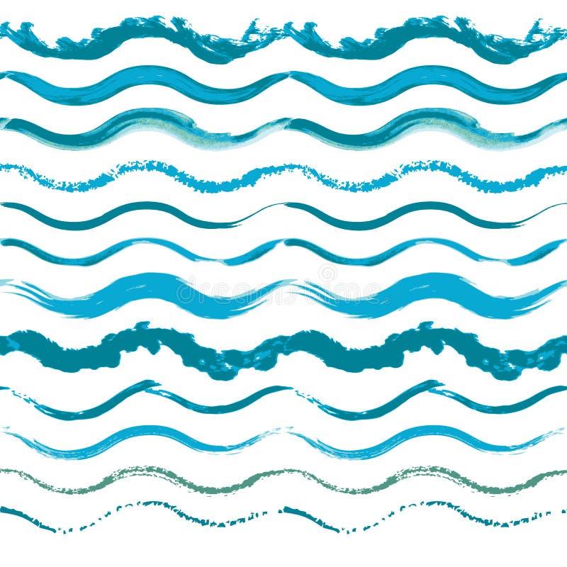 套手拉的无缝的波浪边界 向量例证