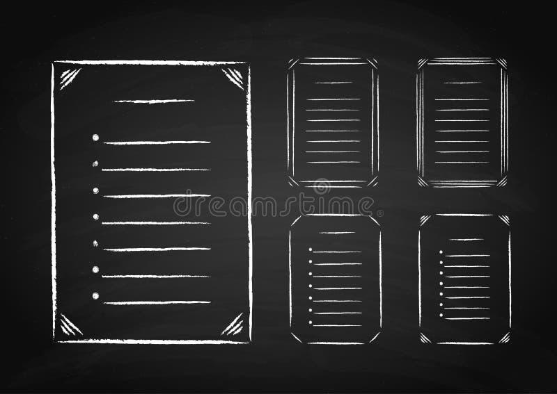 套手拉的框架和名单在黑板 皇族释放例证