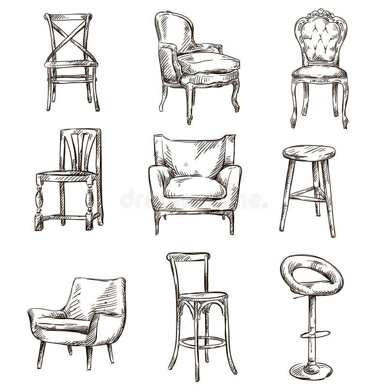 套手拉的椅子 向量例证