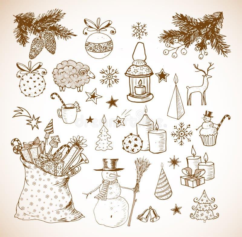 套手拉的概略圣诞节元素 皇族释放例证