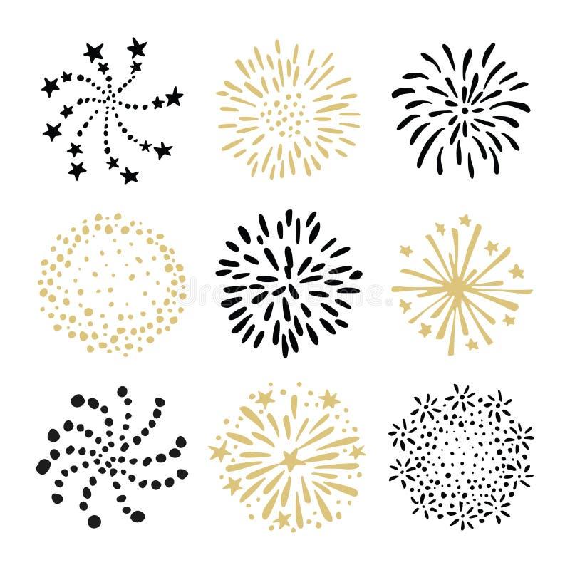 套手拉的烟花和旭日形首饰 被隔绝的黑和金子传染媒介对象,在白色背景的象 向量例证