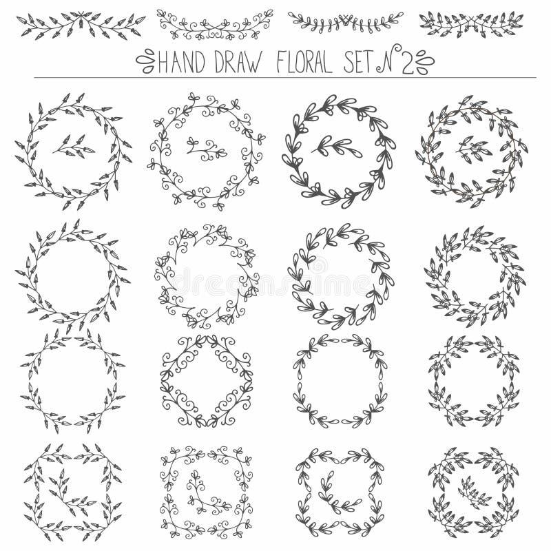套手拉的花卉设计元素:角落,卷毛,缠绕 皇族释放例证