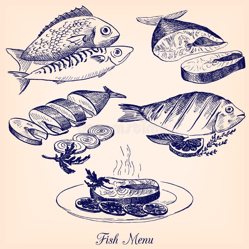 套手拉的鱼宴 向量例证