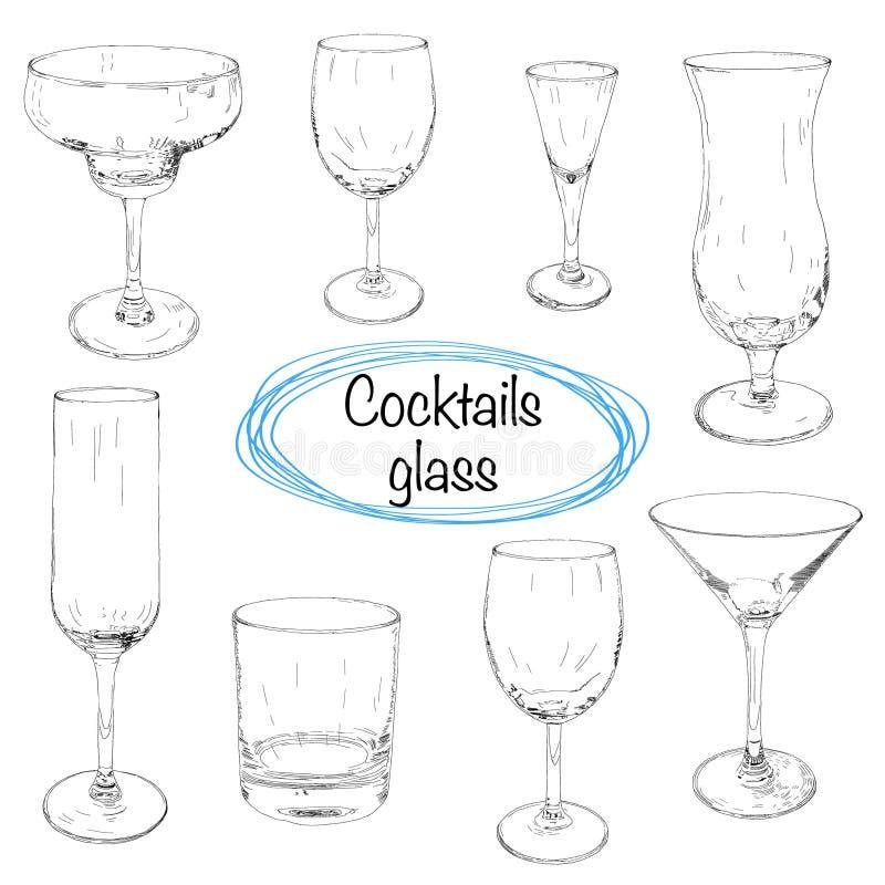 套手拉的鸡尾酒杯 剪影例证 向量例证