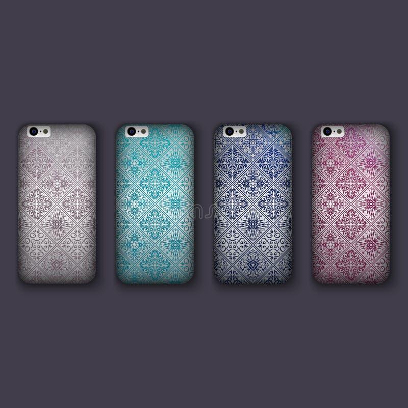 套手机盖子的时兴的马赛克装饰品,铺磁砖几何元素 手机盒 皇族释放例证