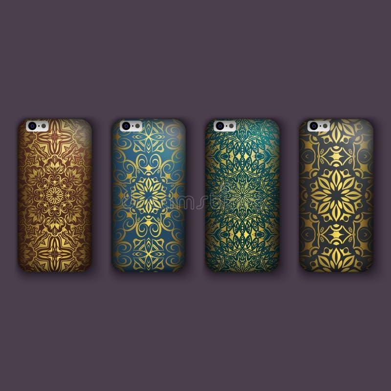 套手机盖子的,花卉坛场时兴的花饰 手机盒 皇族释放例证