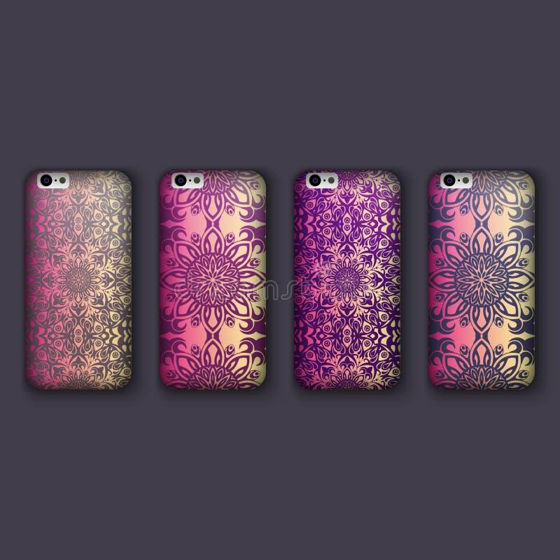 套手机盖子的,花卉坛场时兴的花饰 手机盒 库存例证