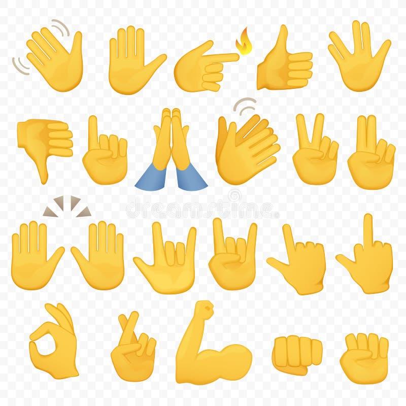 套手象和标志 Emoji手象 不同的姿态、手、信号和标志,阿尔法背景传染媒介 库存例证