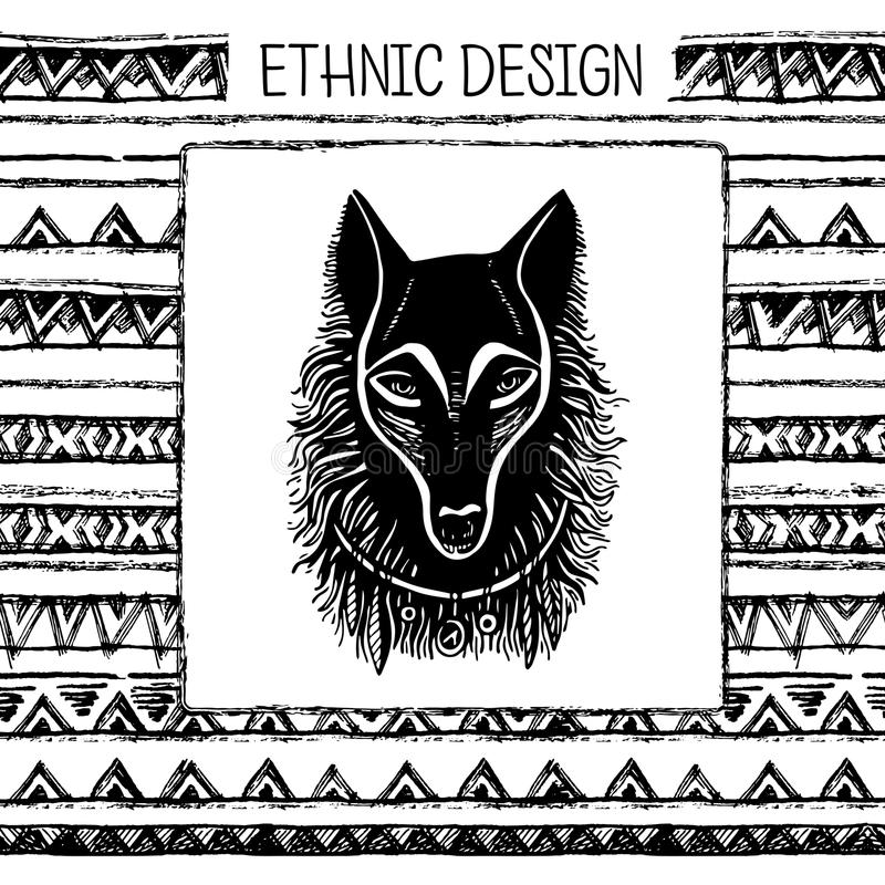 Download 套手画的黑色墨水和白狼面孔 部族种族无缝 黑白颜色 向量例证. 插画 包括有 蚀刻, 可怕, 艺术, 题头 - 72361085