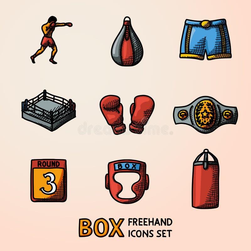 套把装箱的手拉的颜色象-手套,短裤,盔甲,圆的卡片,拳击手,圆环,传送带,沙袋 向量 库存例证