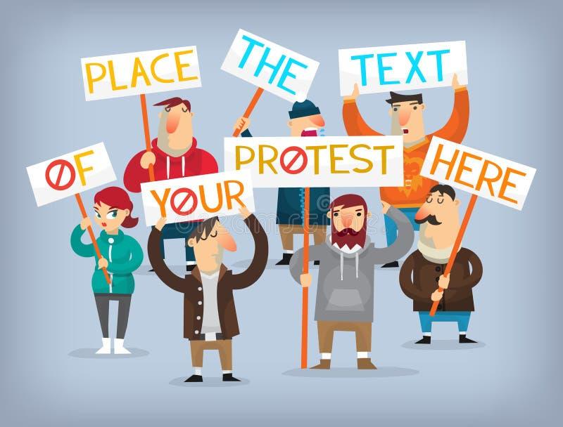 套抗议的人民 向量例证