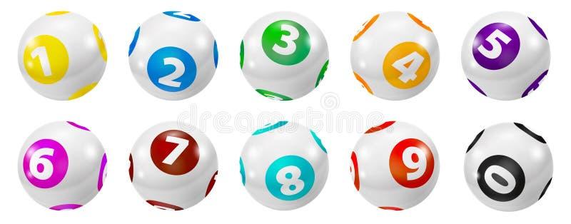 套抽奖色的数字球0-9 库存例证