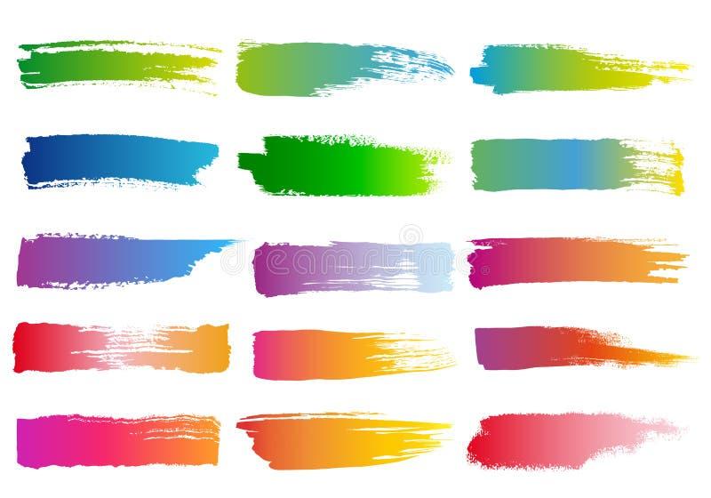 水彩刷子冲程,传染媒介集合 向量例证