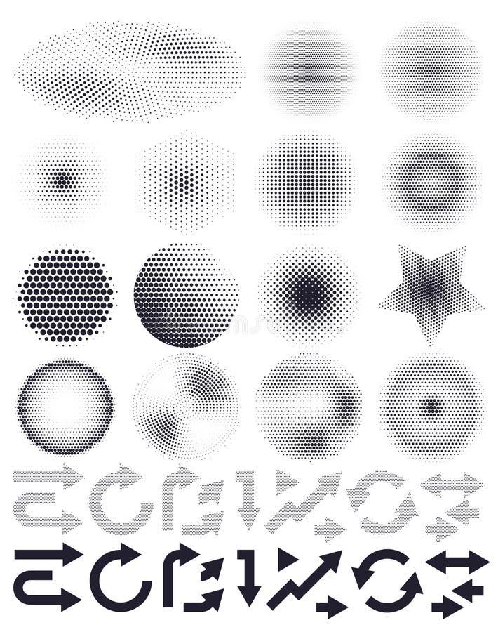 套抽象传染媒介中间影调和箭头,设计的元素 皇族释放例证