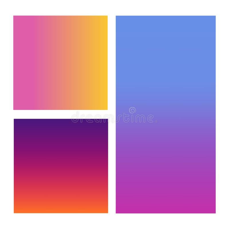 套抽象传染媒介背景蓝色,桃红色,紫色和桔子 皇族释放例证