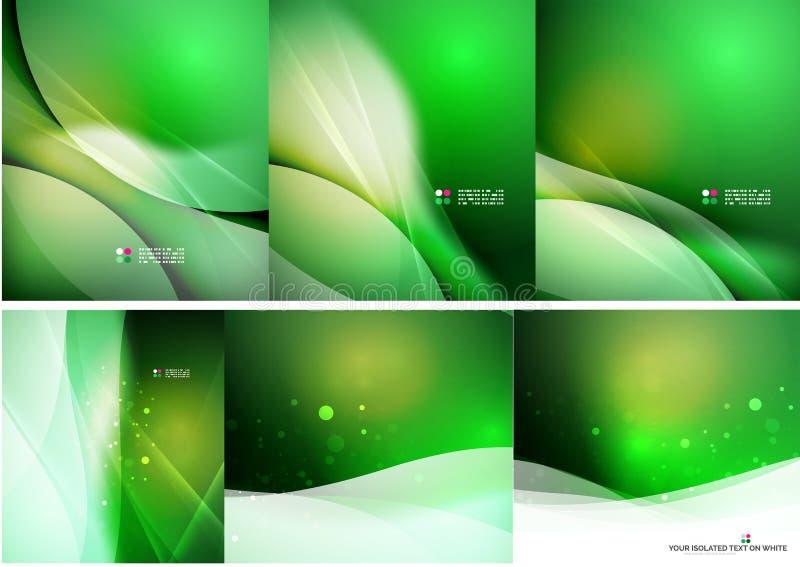 套抽象光亮的背景 向量例证