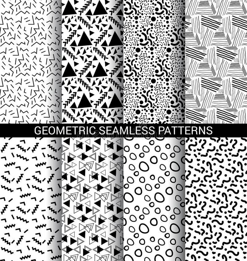 套抽象几何无缝的样式 向量例证