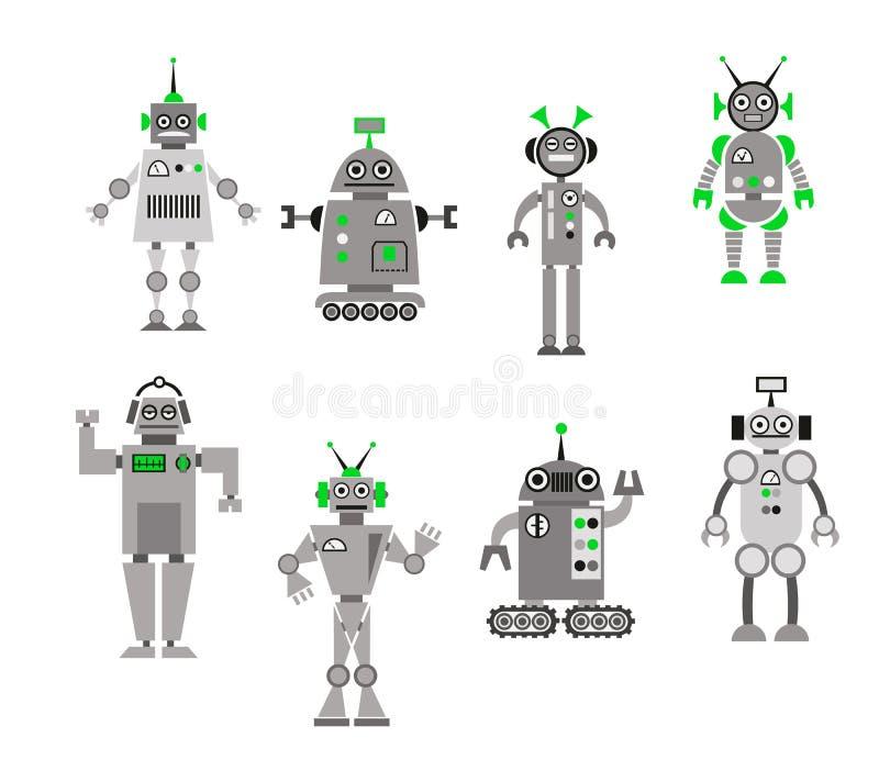 套抽象动画片机器人 库存例证