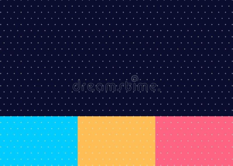 套抽象发怒或正样式无缝蓝色,黄色,粉色背景最小的样式 库存例证