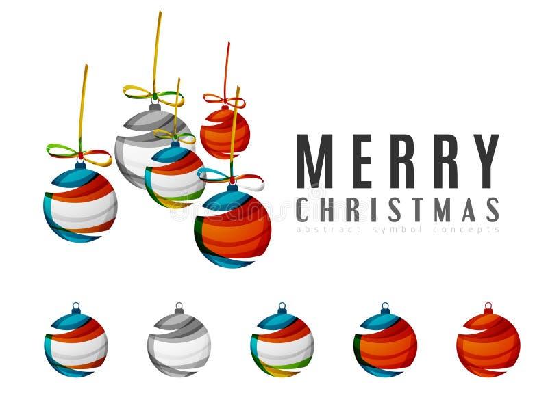 套抽象圣诞节球象,事务 库存例证