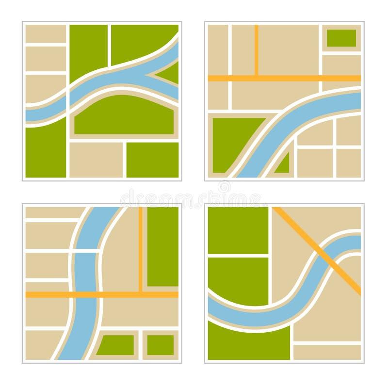 套抽象城市地图例证 向量 皇族释放例证