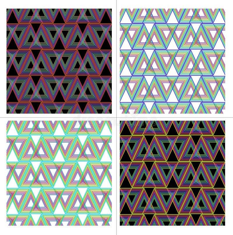 套抽象无缝的传染媒介三角样式用在黑或白色背景的不同的颜色 向量例证
