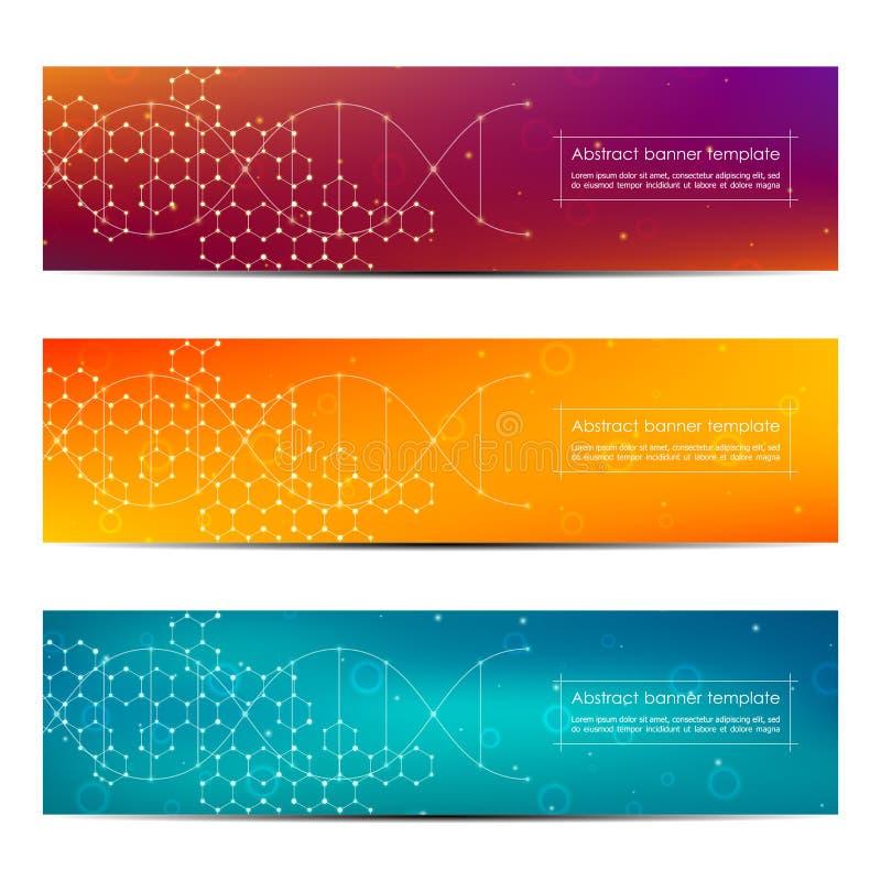 套抽象横幅设计,脱氧核糖核酸分子结构背景 几何图表和被连接的线与小点 库存例证