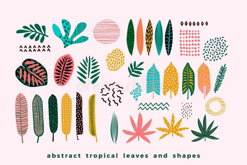 套抽象热带叶子 库存例证