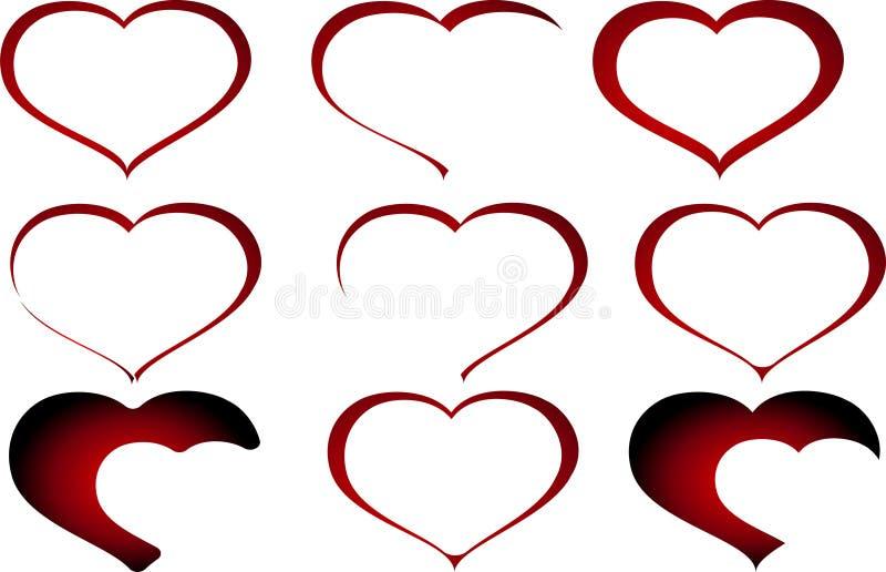 套抽象红色华伦泰心脏传染媒介 免版税库存图片