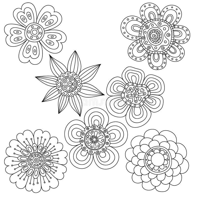 套抽象花卉元素 手拉的乱画 库存例证