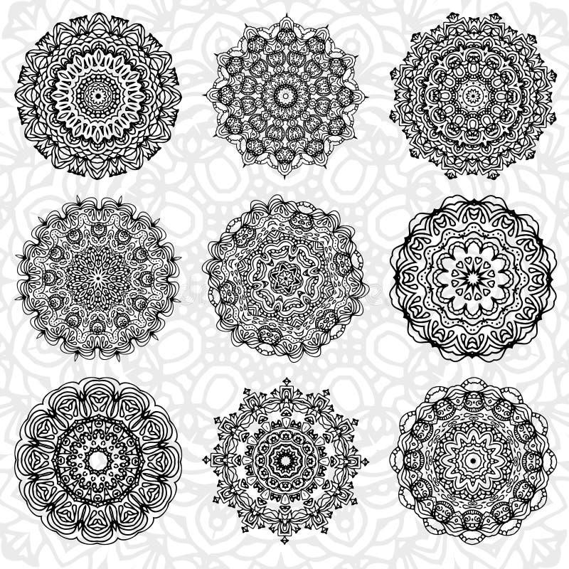 套抽象设计元素 在传染媒介的圆的坛场 您的设计的图表模板 装饰减速火箭的装饰品 拉长的现有量 向量例证