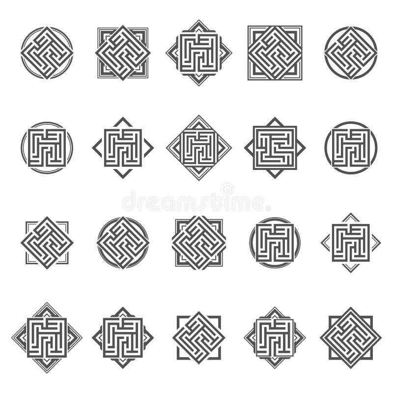 套抽象迷宫元素 向量例证